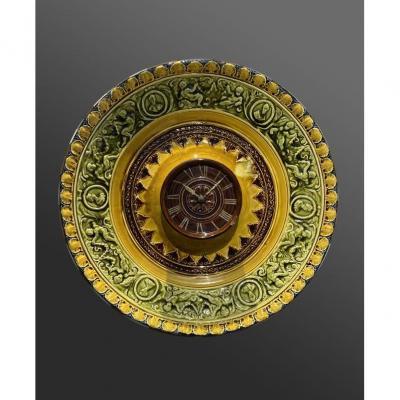Hippolyte Boulenger - Choisy-le-roi, Barbotine Faisant Horloge - Art Nouveau