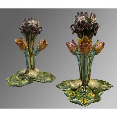 Majolica - Earthenware Of Onnaing, Pair Of Tulipières In Barbotine. 19th Century - Art Nouveau