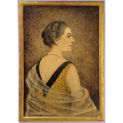 Jean Dunand, Portrait De Mme Dutey, Laque Sur Fond De Coquille d'Oeuf. (1927) Art Déco.