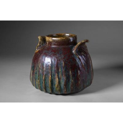 Pierre-adrien Dalpayrat - Vase Aux Anses Végétales, Signed. Circa 1900 -art Nouveau