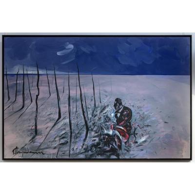 Tahar M'guedmini, Camargue. Oil On Canvas 159x249 Cm. 2000s