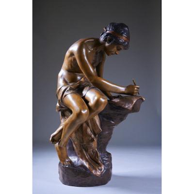 Goldscheider, Sujet Masculin écrivant - Terre Cuite à Patine. Art Nouveau, Signé.