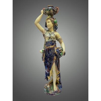 Dans Le Goût De T. - V. Sergent, Jeune Femme à l'Antique. Céramique En Barbotine. Art Nouveau.