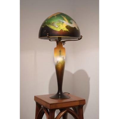 Émile Gallé, Signed Mushroom Lamp - Art Nouveau Circa 1895/1900