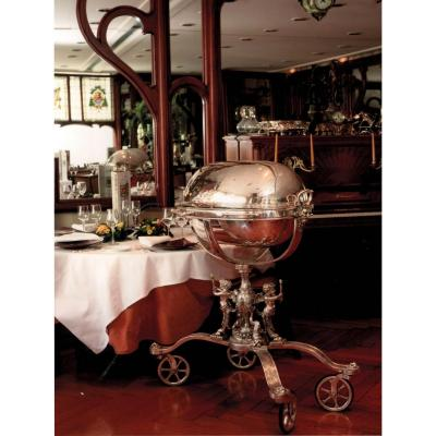 Risler & Carré, Carving Trolley - Silver Bronze. Ca 1900