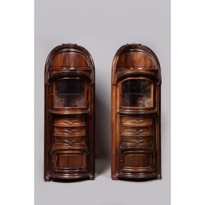 Eugène Vallin, Pair Of Showcases Making Bedside. Rare (art Nouveau)