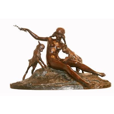 """Jean-Léon ARRY-BITTER (1883-1973) """"Jeune fille aux chevreaux"""