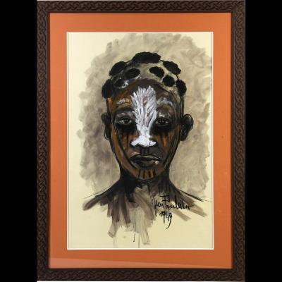 """Jean Poulain (1884-1967) -  """"Portrait africain"""""""