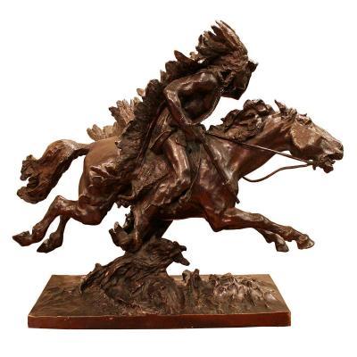 """Ulpiano Checa Y Sanz (1860-1916) - """"indian On Horseback"""""""