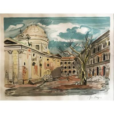 Yves Brayer (1907-1990) - Place De Village - Lithographie