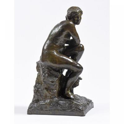 """Paul PAULIN (1852-1937)  -  """"Nu sur un rocher"""""""