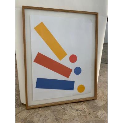 Gouache Et Collage Par Albert Chubac - Années 1980