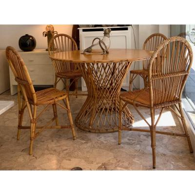 Audoux-minnet Dining Table And 4 Chairs Set, 1960s (audoux-minet)