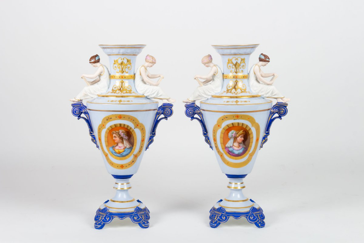 """Paire de Vases en biscuit et porcelaine """"La Lecture"""" attribuée à Gibus 1870"""