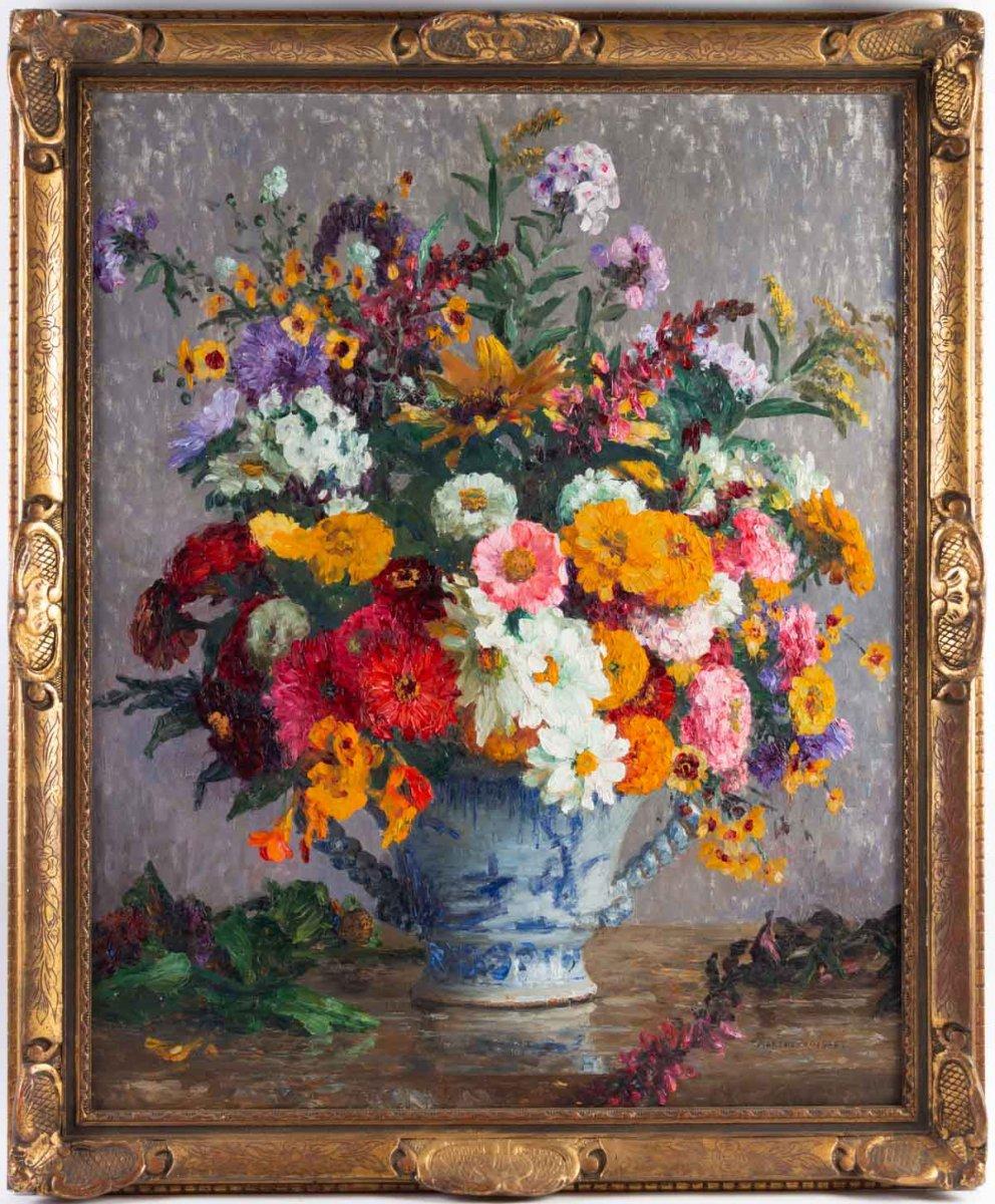 Marthe Moisset ( 1871 1945) Compositon florale dans un vase en Delft