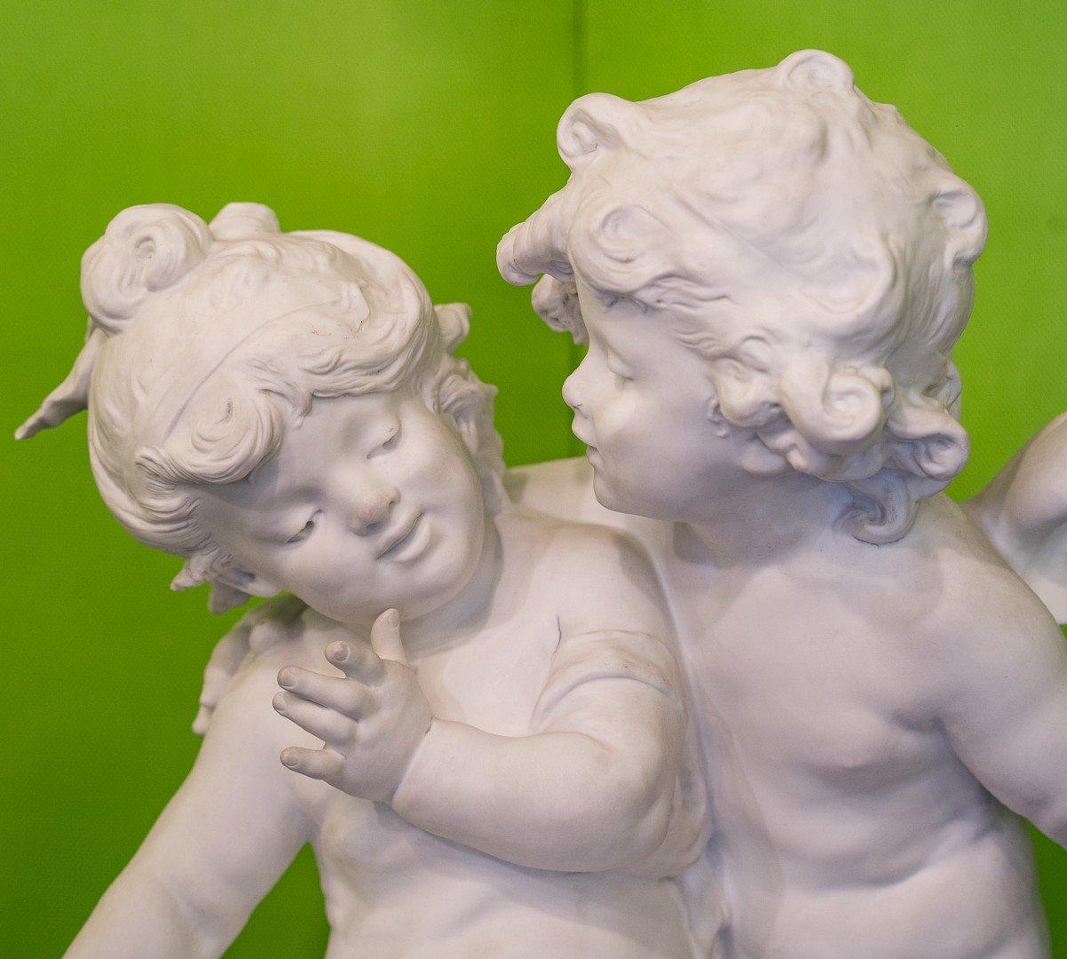 biscuit :Amour et Petite Fille  Auguste Moreau XIXème siécle-photo-2