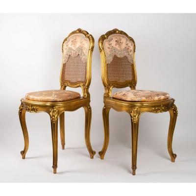 Pair Of Louis XV Style Pink Chairs Niii Period