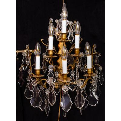 Pair Of Sconces With 6 Lights (crystals + Bronzes) XIXth