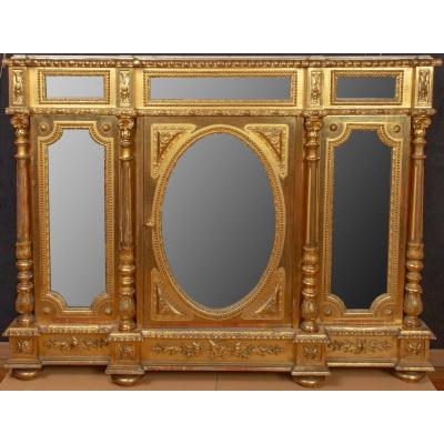Support Cabinet In Golden Wood And Mirrors