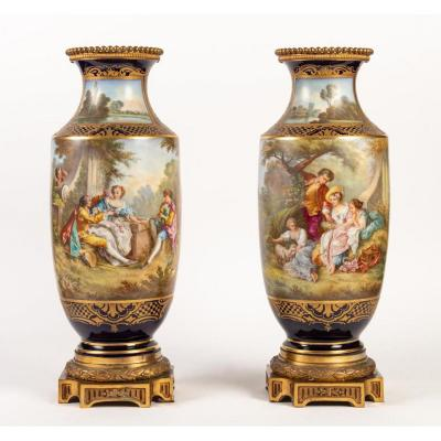 Pair Of Sèvres Blue Porcelain Vases, Wateau Scenes (signed) XIXth
