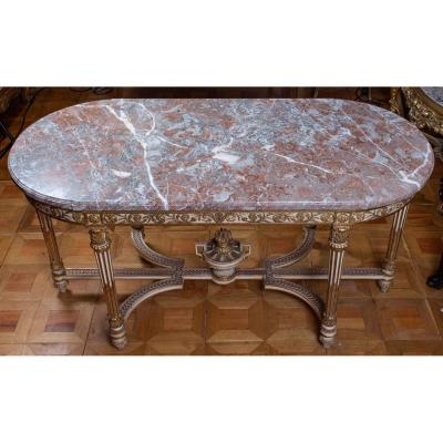 Grande Table blanche et or(ou console)St.LOUIS XVI