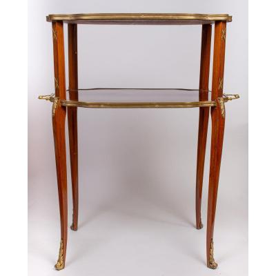 19th Century Tea Table (marquetry, 2 Levels)