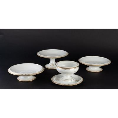 4 Manufacture De Sèvres White And Gold Cups Signed (1891-1901)