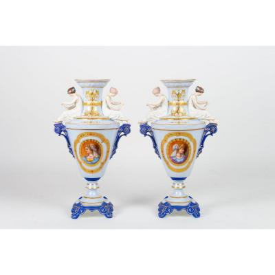 "Pair Of Biscuit And Porcelain Vases ""la Lecture"" Attributed To Gibus 1870"