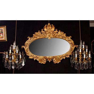 Louis XV Style Oval Gilded Wood Mirror