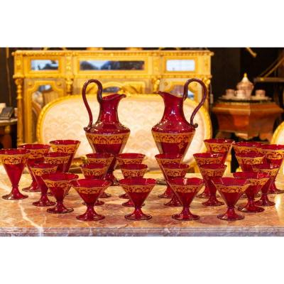 Red And Gold Venice (murano) Glass Service Circa 1900 (58 Pieces)