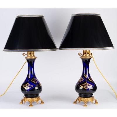 Paire de Lampes  bleues et or NIII