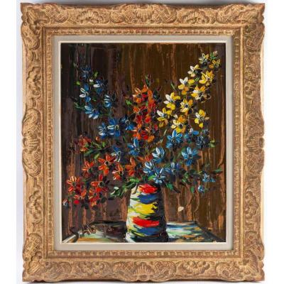 S. Abrys Circa 1950 Bouquet Of Red, Blue And Yellow Campanulas
