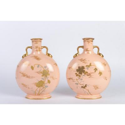 Pair Of Vases Royal Worcester XIXème