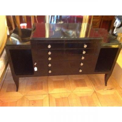 Low Cabinet Art Deco Black Lacquer 1930