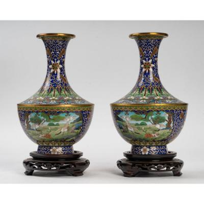 Pair Of Cloisonné Vases China 1950