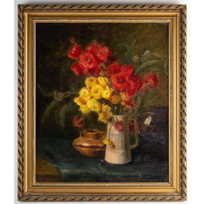 Still Life With Ranunculus By Garnier Late 19th Century
