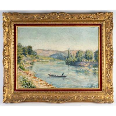 Paysage fluvial par Elisabeth DODEL  ( circa  1915 )