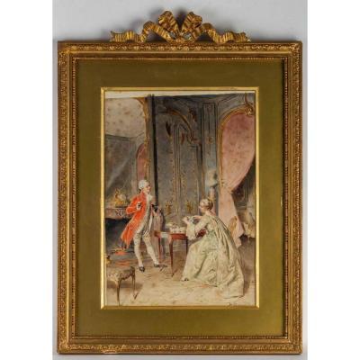 """Scène d'interieur""""Le Thé"""" Bernard Louis Borione (1906 )"""