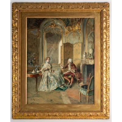 """Scène d'intérieur """"à L'éventail"""" Bernard Louis Borione ( Paris 1905 )"""