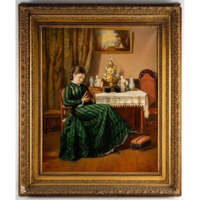 Jeune fille à la lecture par Pierre Emile BERNEDE (1880 )