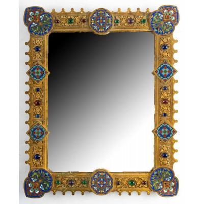 Miroir rectangulaire en bronze doré  Style Byzantin