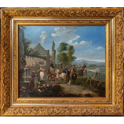 The Festival In The Village Flemish Table XIXth Century