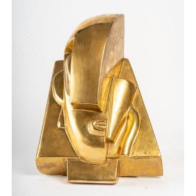 Tête en céramique dorée d'après Joseph Csaky (1888-1971)Cubiste