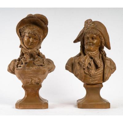 Couple d'Incroyable et Merveilleuse en terre cuite XIXème siècle ( signés )
