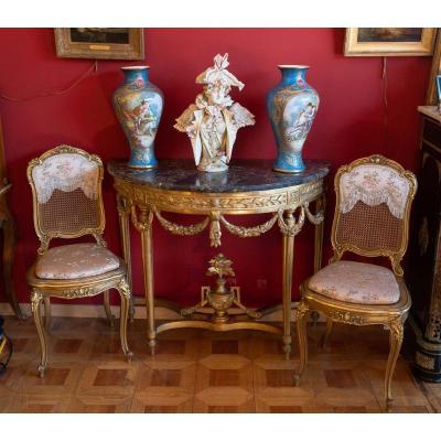 Console Louis XVI en bois doré  XVIIIème siècle