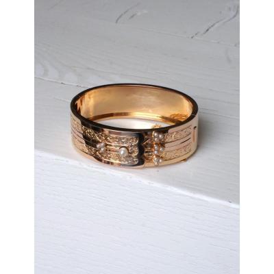 Rose Gold Bangle Bracelet And Natural Pearls