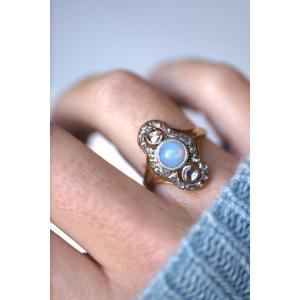 Bague Marquise Opale Entourage Diamants Sur Or Rose Et Argent