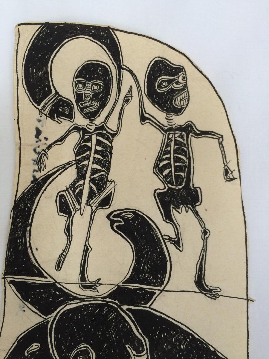 Jean Michel Basquiat Encre Sur Papier-photo-2