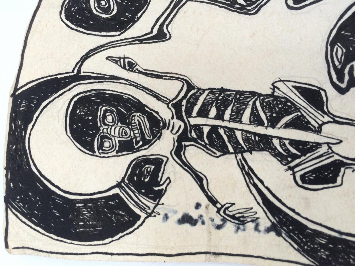 Jean Michel Basquiat Encre Sur Papier-photo-5