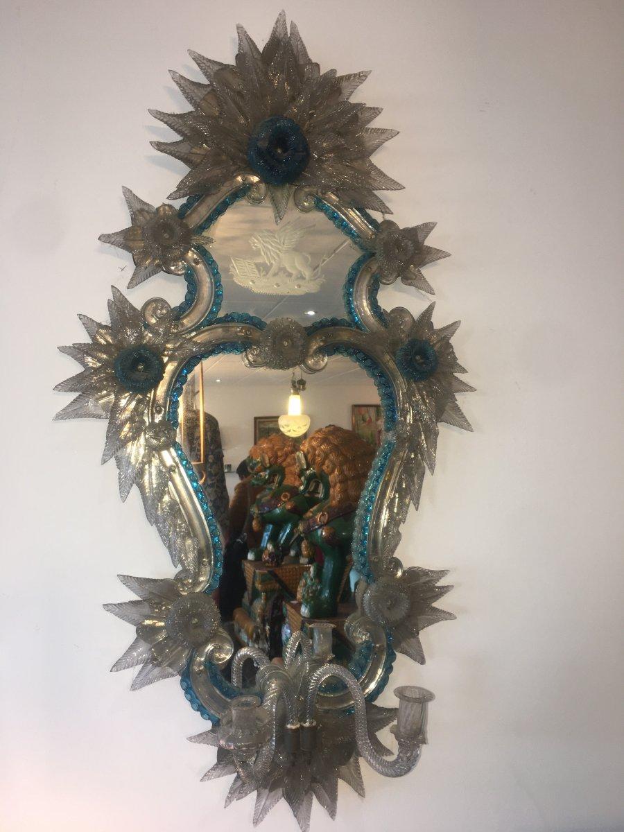 Venetian Ice Mirror Italy Glassware